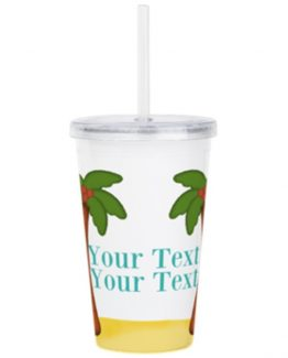 Palm tree beach tropical travel mug cup tumbler vacation gift art