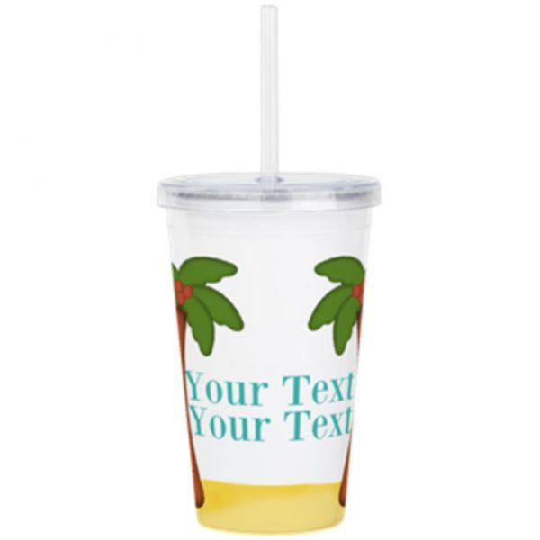 Palm tree beach tropical travel mug cup tumbler vacation gift art