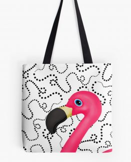 Pink Flamingo Dots Tote Bag Purse