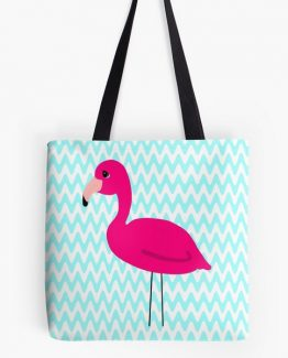 Pink Flamingo Teal Chevron Tote Bag Cute Cartoon