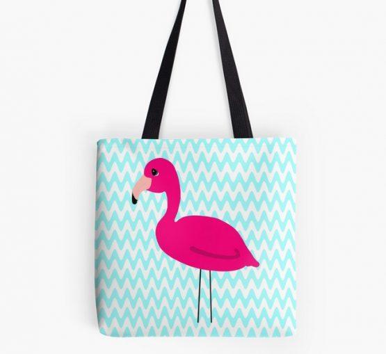 Pink Flamingo Teal Chevron Tote Bag Cute Cartoon