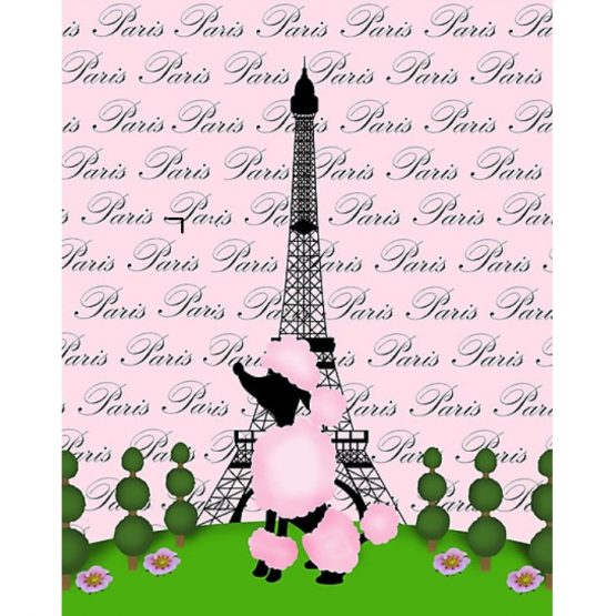 Pink Paris Nursery Decor Wall Art Bedroom Bathroom French Poodle Eiffel Tower
