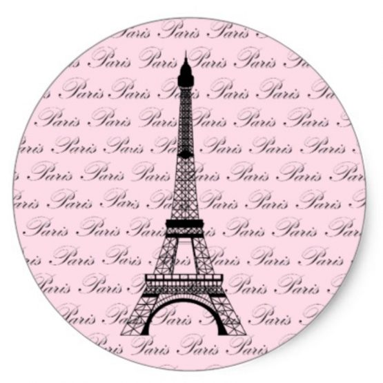 Pink Paris Party Stickers Eiffel Tower single