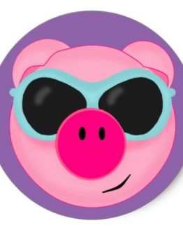 Pink Pig Purple Sticker Single