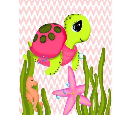Pink Sea Turtle Ocean Nursery Decor Wall Art Print
