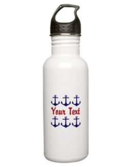 anchors away nautical water bottle stainless custom monogrammed