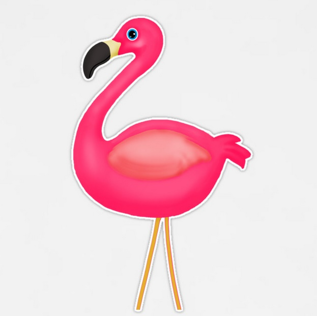 Cute pink flamingo removeable vinyl sticker