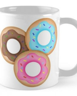 donuts coffee mug cute funny cartoon charleston artist pastry