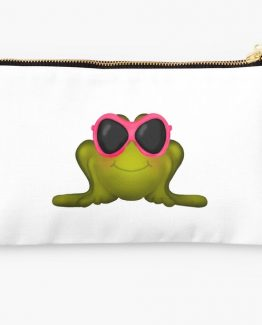 frog in pink sunglasses beach day makeup bag