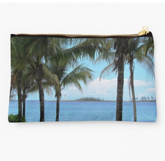 nassau bahamas beach painting themed makeup bag 1