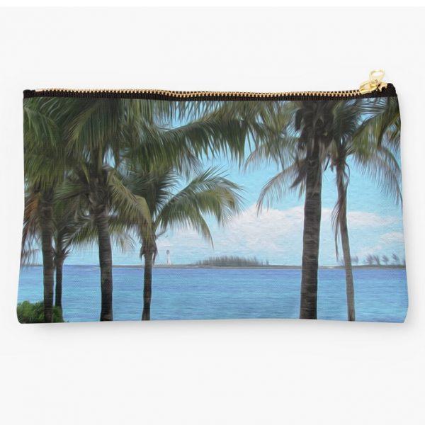nassau bahamas beach painting themed makeup bag 1