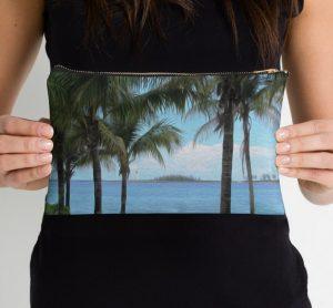 nassau bahamas beach painting themed makeup bag