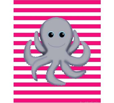 octopus baby pink girl bedroom decor ocean wall decor art