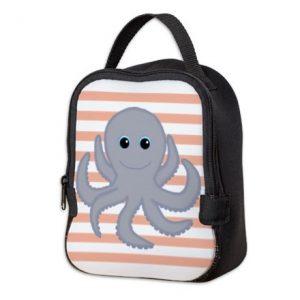 octopus ocean pink lunch box bag