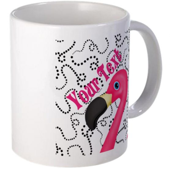 pink flamingo coffee mug monogram name tropical kitchen gift