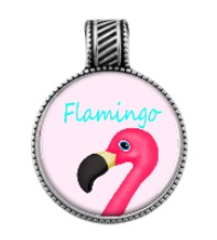 pink flamingo necklace charm teal tropical jewelry