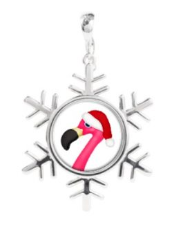 pink flamingo santa christmas funny snowflake necklace charm jewelry