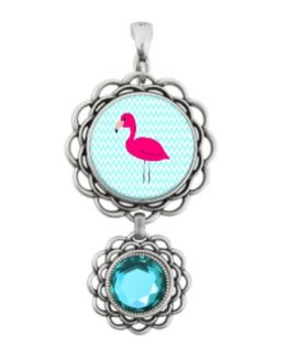 pink flamingo teal chevron tropical jewelry necklace beach art