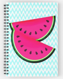 pink watermelon teal chevrons spiral bound notebook