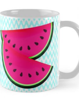 pink watermelon teal coffee mug drink glass