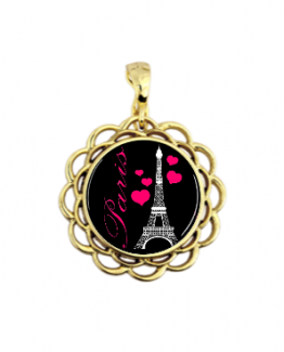 paris eiffel towel necklace pendant pink black magnetic jewelry gold tone