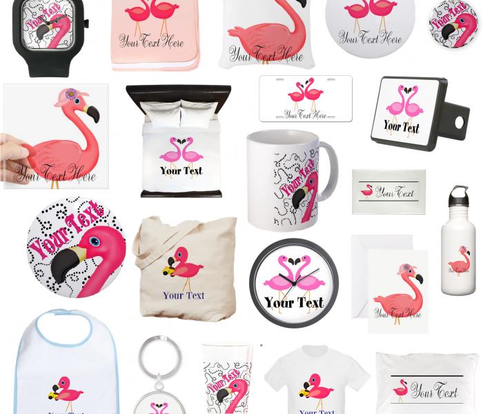 Custom Pink Flamingo Art Gifts and Jewelry