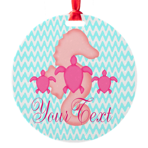 Seahorse Christmas Ornament Ocean Pink Teal