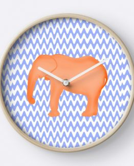 baby elephant clock nursery girl boy blue orange