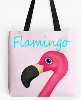 flamingo tote bag pink and teal