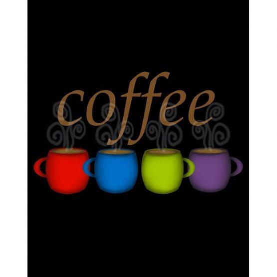Coffee Jewel Tone Mugs Kitchen Decor Art Cafe