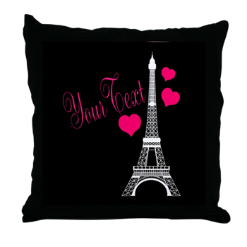 Pink Paris Party Decor Bedding Bedroom Pillow Black