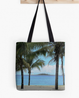 beach painting tote bag purse teal blue ocean