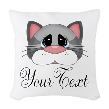 gray cat lady pillow decor gift