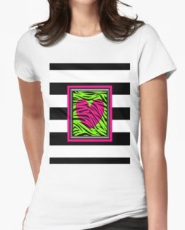 hot pink green heart zebra animal print shirt wild child