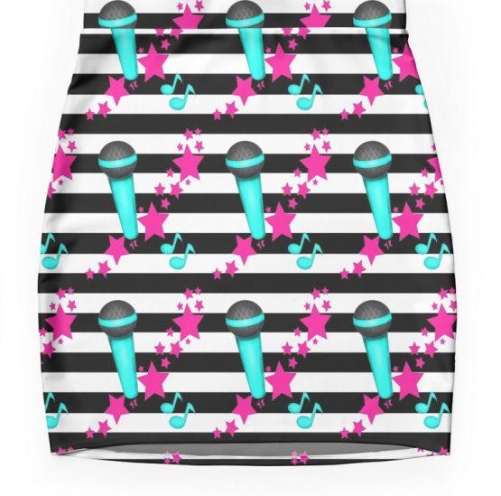 karaoke queen skirt shirt outfit microphone pink teal rockstar