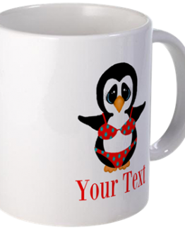 penguin funny coffee mug in bikini beach bum body
