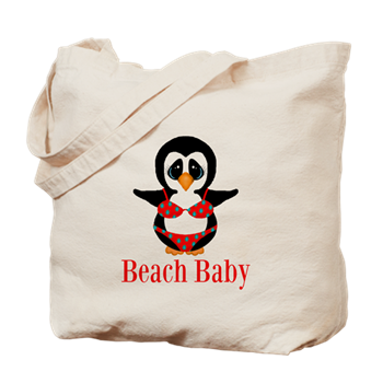 penguin in bikini beach bag beach baby