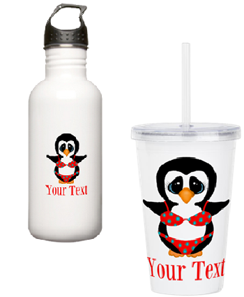 penguin in bikini beach cup glass tumbler custom name