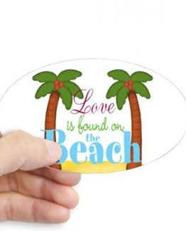 Love is found on the beach STICKER tropical palm trees