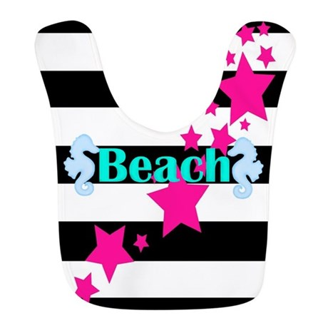 beach baby bib girl star rockstar gift seahorse