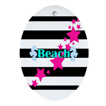 beach christmas ornament pink teal black teen