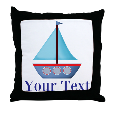 blue sailboat pillow decor bedding nautical bedroom